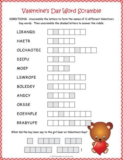 Free Printable Valentine S Day Word Scramble Valentines