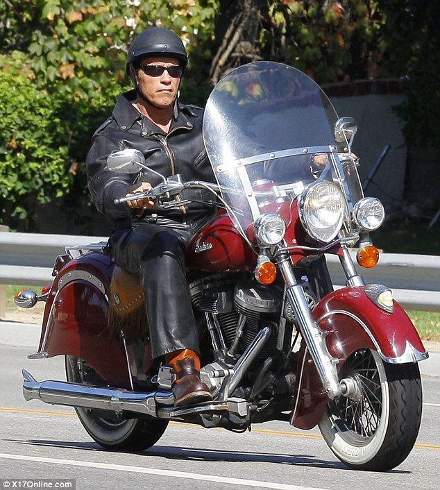 arnold schwarzenegger led the way as he went riding with