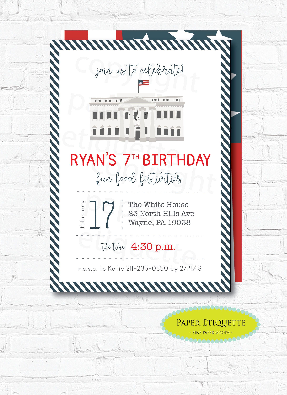 Presidents Day Birthday Invitations