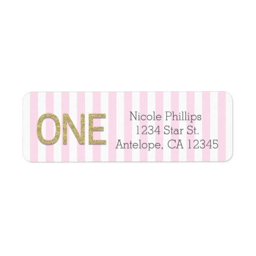 gold glitter one 1st pink stripes address labels in 2018 1st