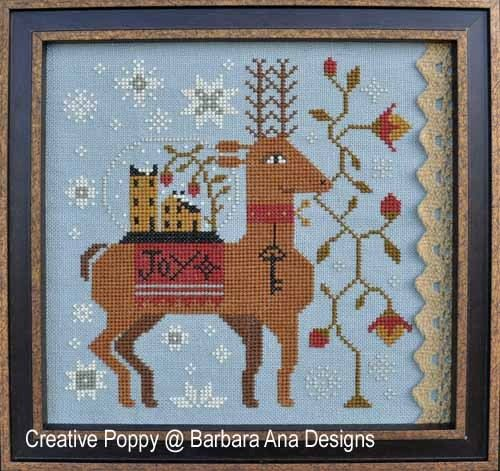 10% OFF Pre-Order Spreading Joy : Barbara Ana cross stitch patterns Christmas reindeer snow globe holidays monochromatic hand embroidery