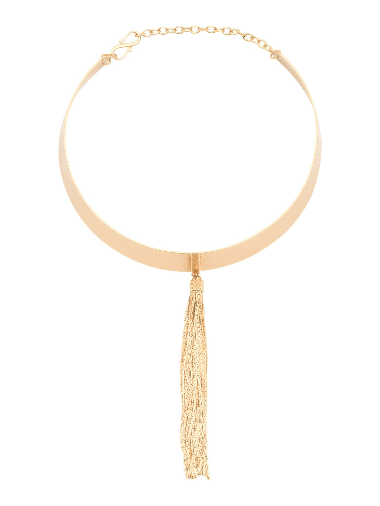 K gold plated hazel tassel fringe collar necklace products
