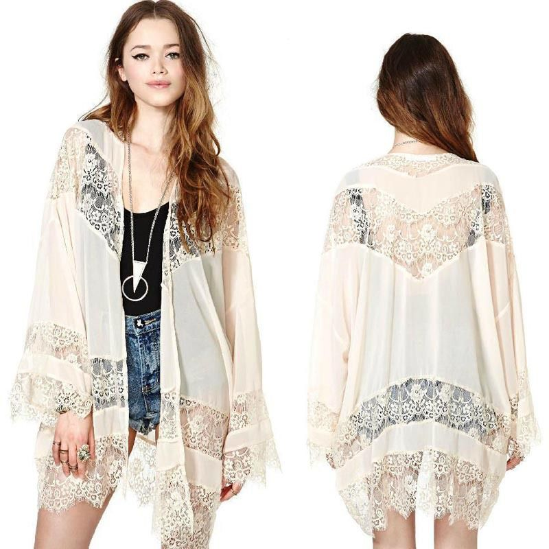 Women Lace Splicing Jacket Chiffon Kimono Cardigan Coat Tops Blouse Hottest  in Clothing, Shoes & Accessories, Women's Clothing, Tops & Blouses