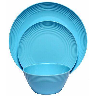 Salad Plate /& Soup Bowl Dinner Plate Melange 18-Piece Melamine Dinnerware Set 6 Each Gold Timber | Shatter-Proof and Chip-Resistant Melamine Plates and Bowls