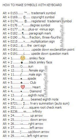 How To Make Symbols With The Keyboard Misc Pinterest Symbols