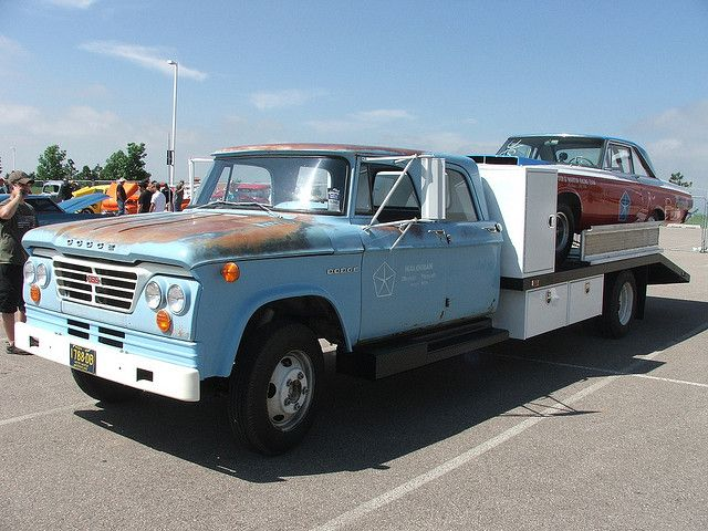 1965 dodge truck hauling a 1964 plymouth max wedge fury
