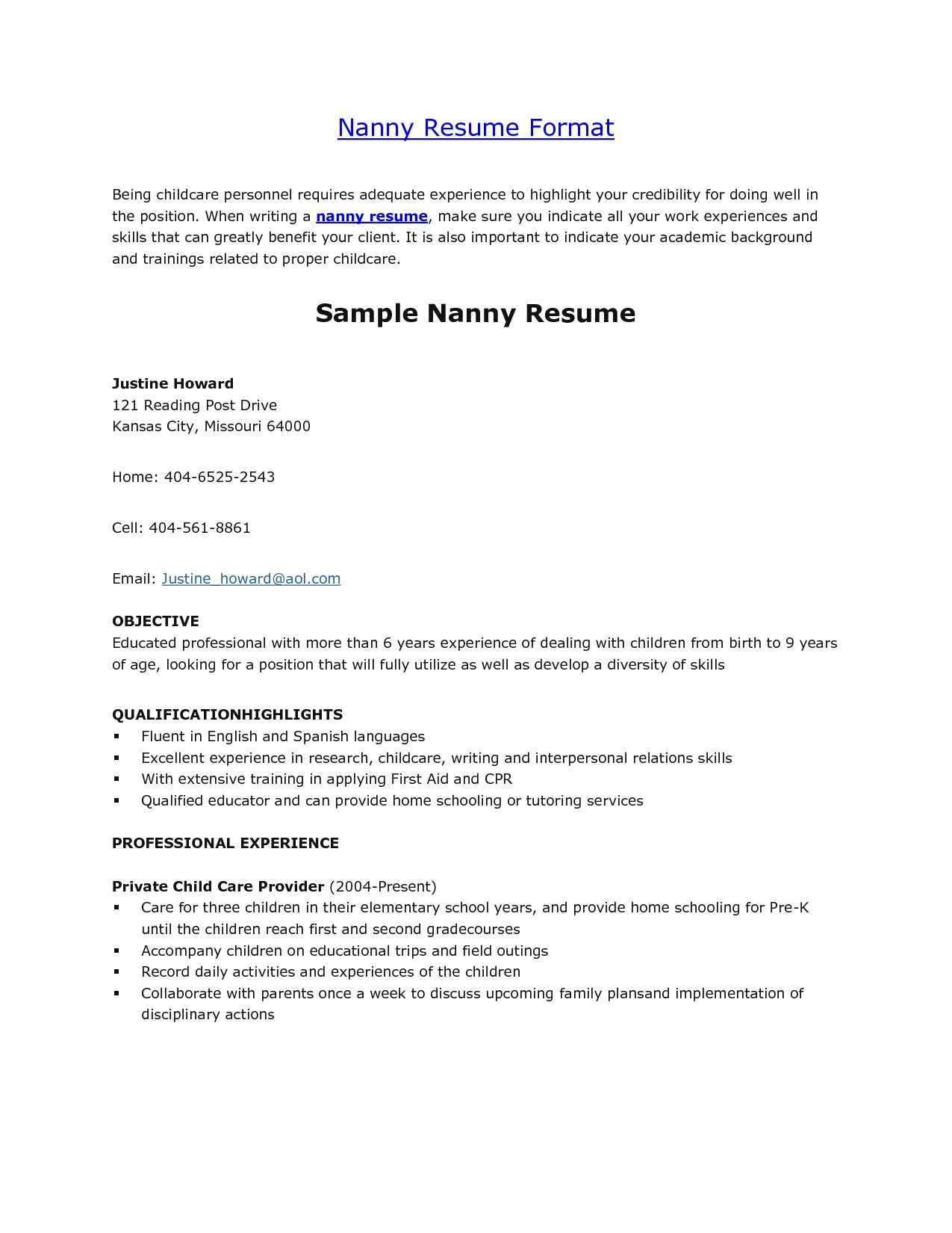 Nanny Job Resume Duties Baby Babysitter Sample Template Letter