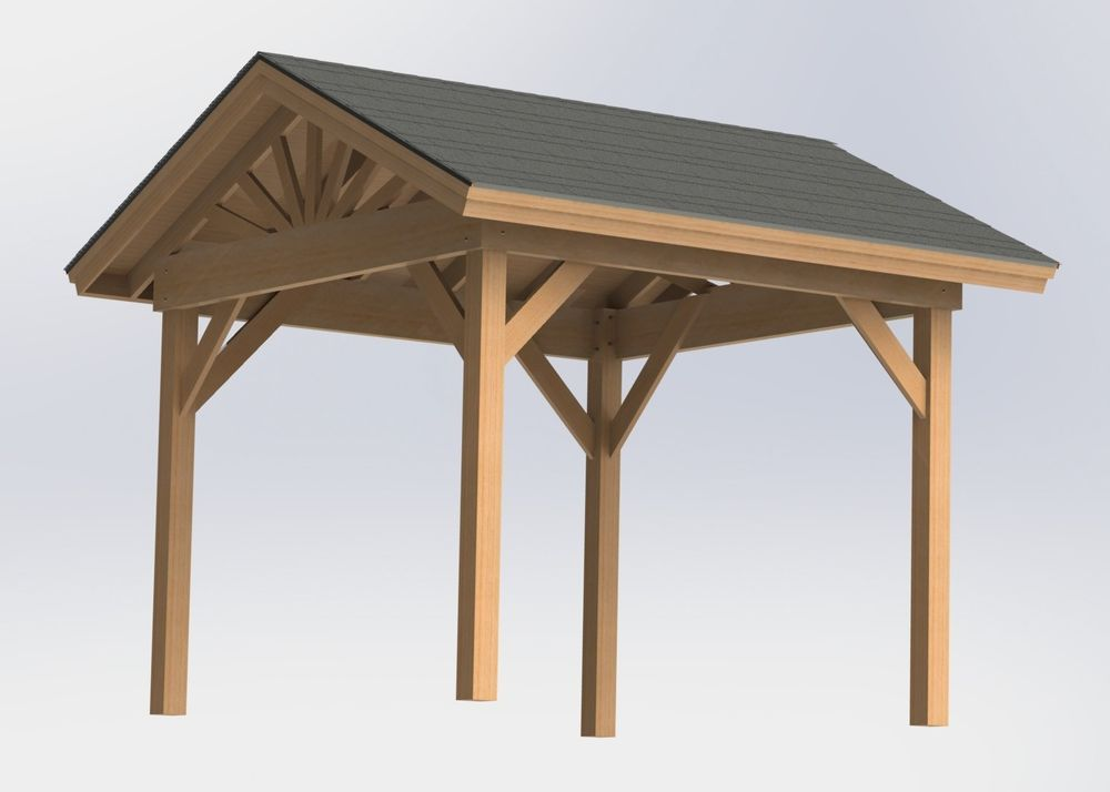 Gable Roof Gazebo with open sides Plans - Easy to Build - Perfect for Hot Tubs