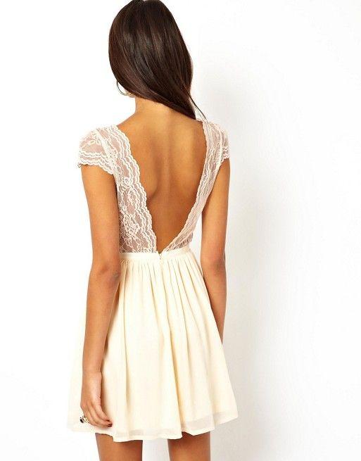 skater dress with scalloped wrap mariage civil dresses. Black Bedroom Furniture Sets. Home Design Ideas