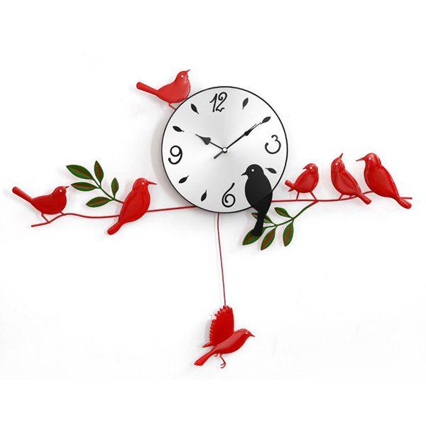 Free Shipping Stylish Diy Parlor Decor Bird Wall Clock Clocks Home Watch