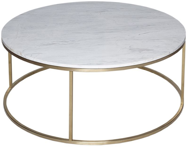 Exceptional Gillmore Space Kensal Marble Coffee Table   With Brass Base Circular