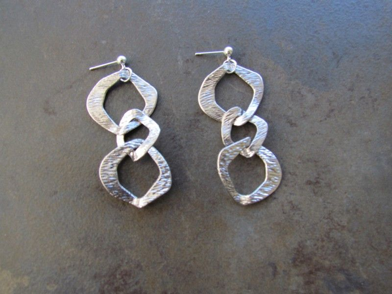 """Cleopatra Silver 3 Link Earring 2"""" Drop by Fran Green Check more at http://jewelrybyfrangreen.com/product/earrings/cleopatra-silver-1-link-earring-2-drop/"""