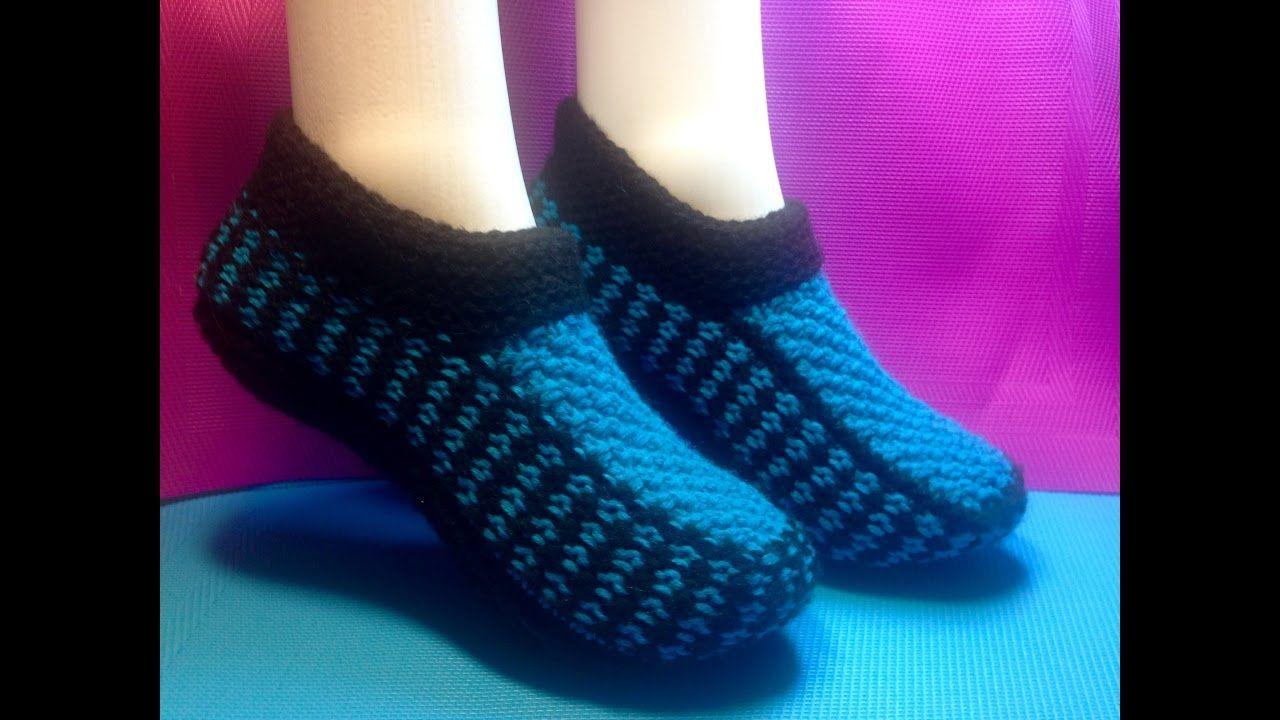 вязание спицами домашние тапочки следки вязаная обувь вязание