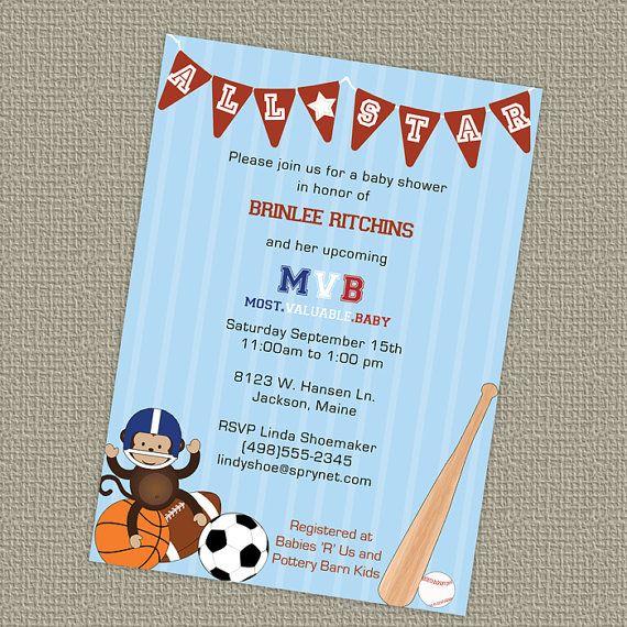 Sports Themed Baby Shower Invitation All Star Invite Mvb