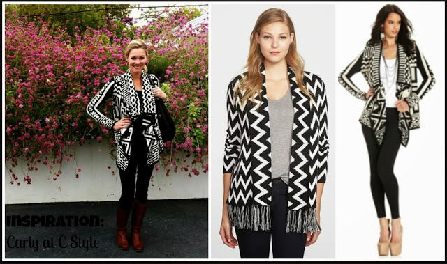 Black and White graphic cardigan with black leggings and brown boots. LOVE!