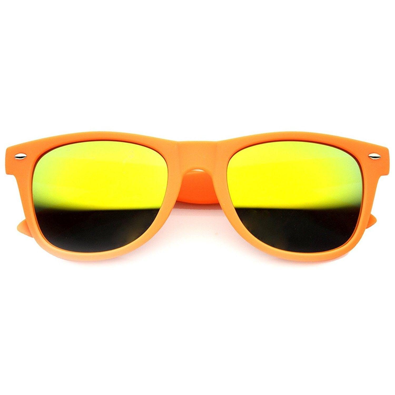 Men/'s Women/'s Retro Horn Rimmed brown wood color Sunglasses Blue Mirrored Lenses