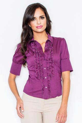 Женская рубашка с коротким рукавом и рюшами M025 FIGL