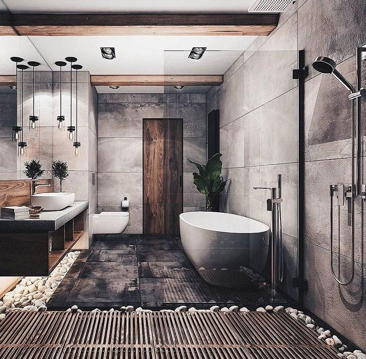 LOVE THIS BATHROOM, IT IS SIMPLY STUNNING! - THE USE OF TIMBER WITH CONCRETE & THE FABULOUS DECOR, ALL GO TOGETHER SO WELL! ♠️
