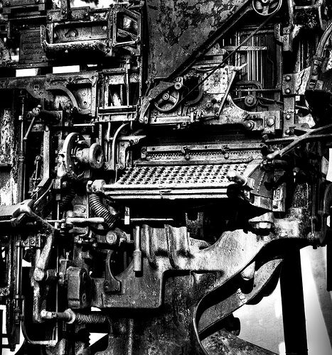 Linotype machine, used to set type for the press in the days
