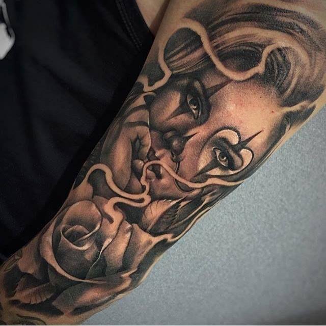 Bras Chicanos Rose Visage Tatouage Realiste Image Tatouage