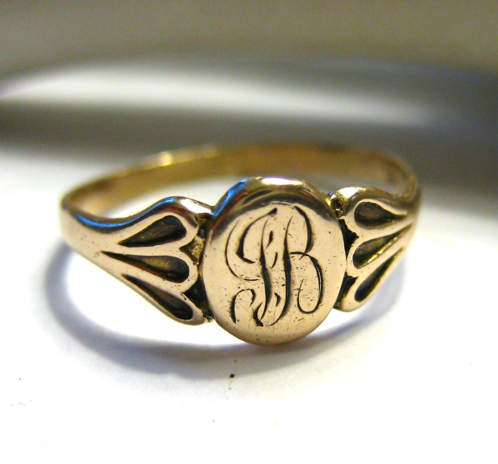 Vintage 14k Yellow Gold Signet Ring Scroll Letter Size 6 1 3 Grams Gold Signet Ring Antique Jewelry Signet Ring