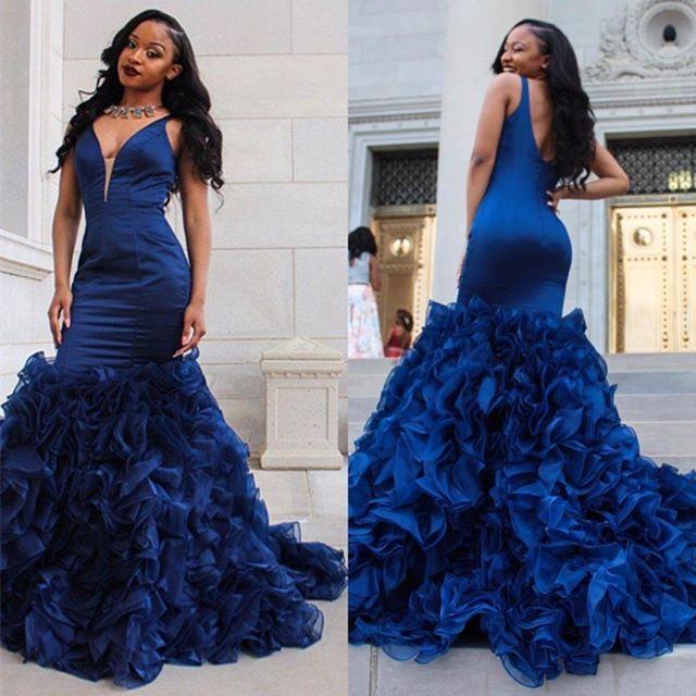 c10bdb782b5 mermaid prom dress with ruffles royal blue prom dress evening dress long formal  dress plus size prom dress v-neck