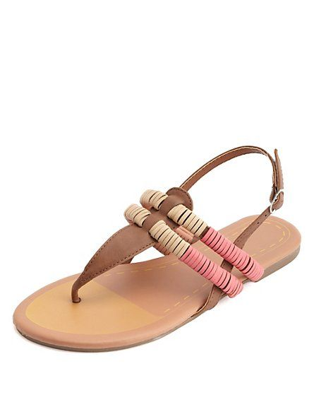 107aabeb1da8 Wrapped Color Block T-Strap Thong Sandals  Charlotte Russe