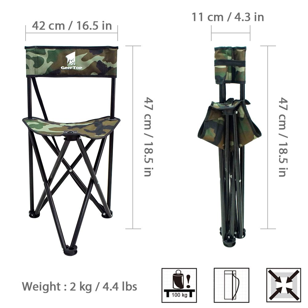 Geertop Folding Tripod Field Chair Camp Stool With Backrest For