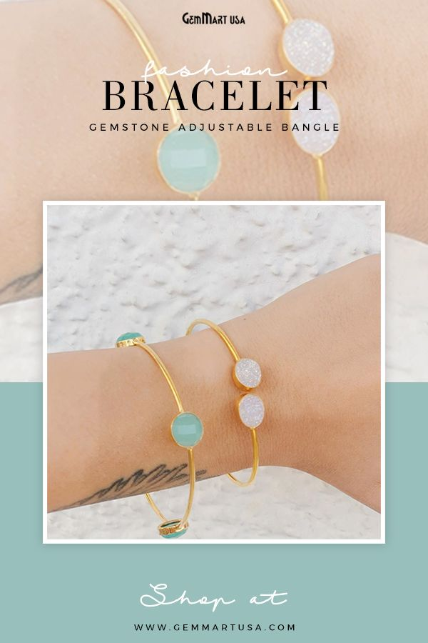 Adorn your wrists with this dainty, gold plated gemstone bangle. #jewelry #fashionjewelry #bracelet #bangle #gemstonebangle #gemstonebracelet #minimal #minimalbracelet #minimaljewelry #minimalfashion #jewelryforher #gifts #gemstonejewelry #beautifulbracelet