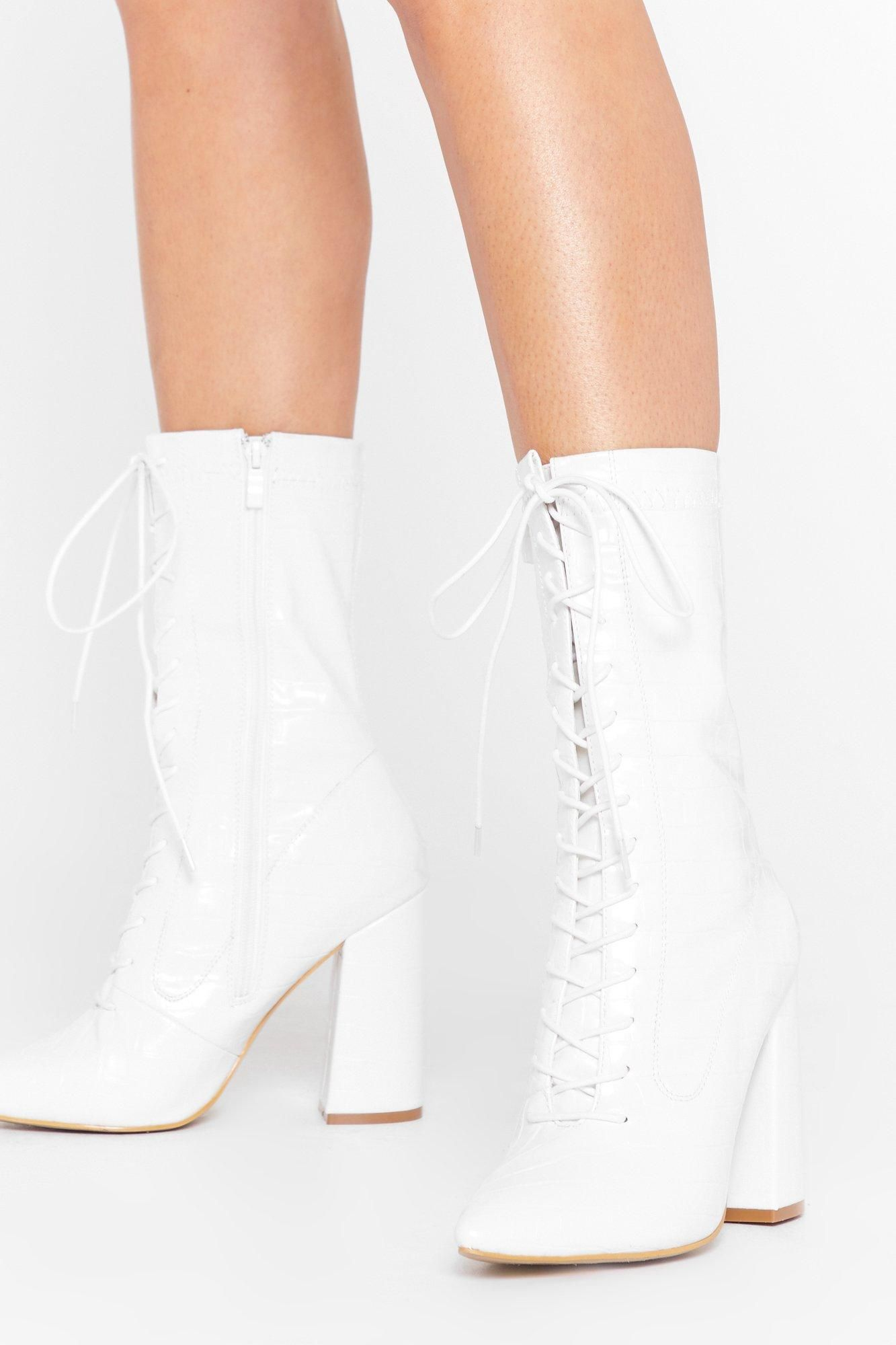 Pu CR Block Heel Lace Up Boot in 2020