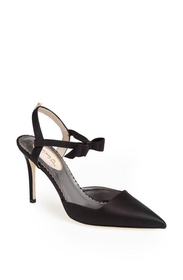 6f27c449cee2 Sleek satin pump with a bow-trimmed ankle strap. Pretty SJP shoe ...