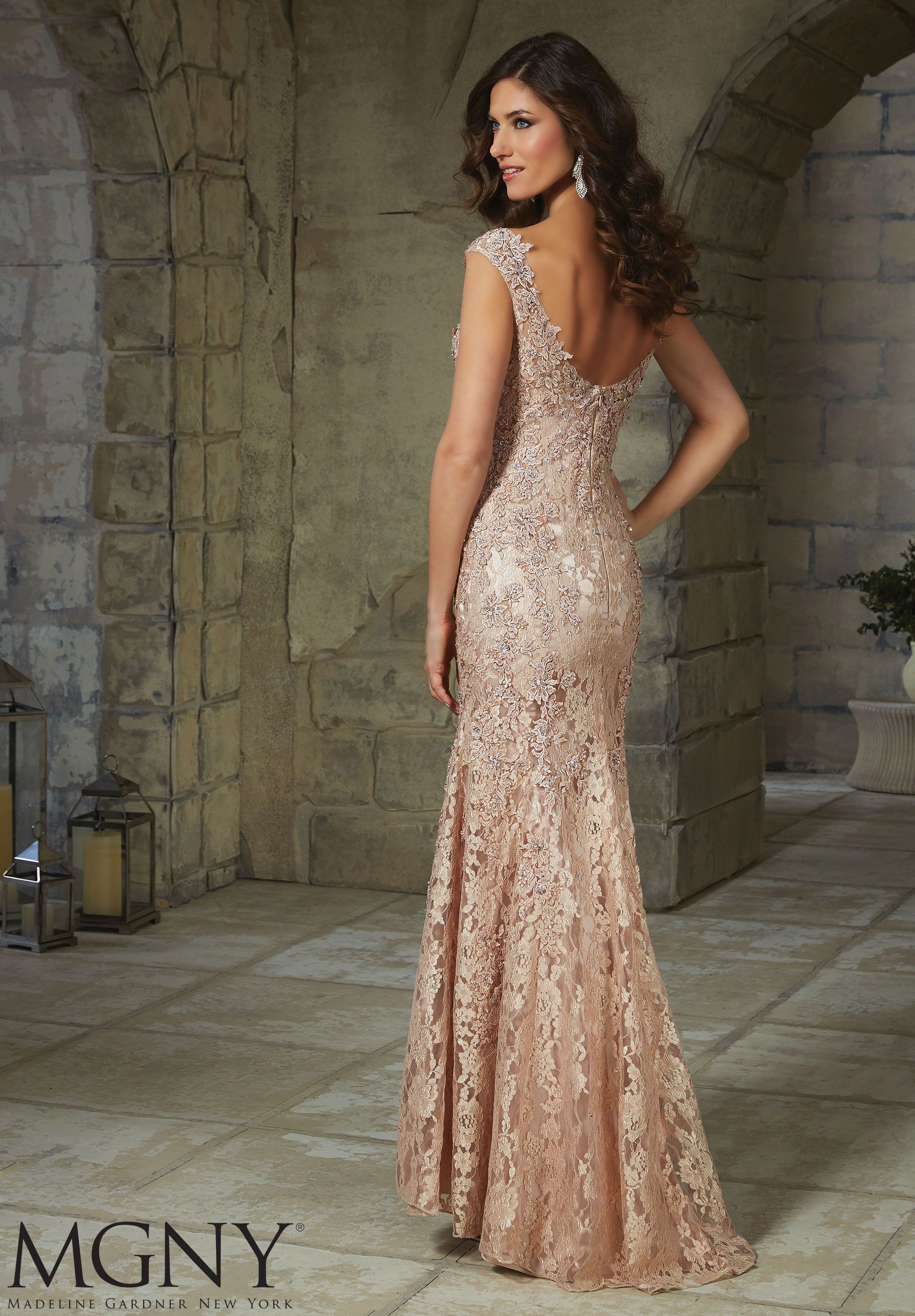 Net with Beaded and Embroidered Appliqués Evening Gown/Mother of the ...