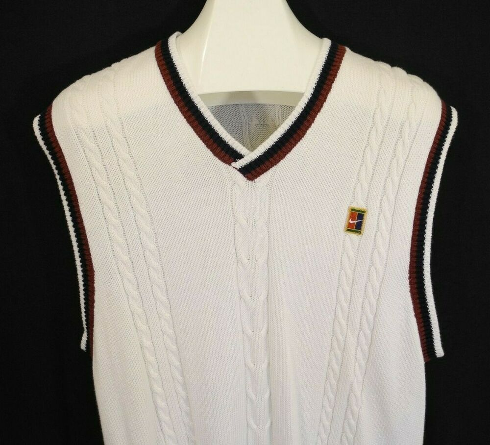 Vtg Nike Sweater Vest Tennis Golf Cable Knit White Maroon ...