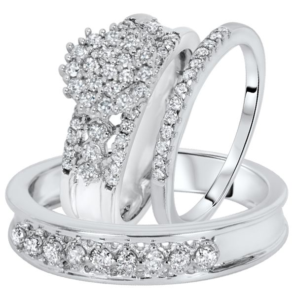 1 Carat Diamond Trio Wedding Ring Set 14k White Gold With Images Wedding Ring Trio Sets Wedding Ring Sets Wedding Rings Sets His And Hers