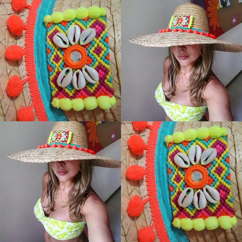 Sombreros de paja decorados wayuu style sombrwros - Decoracion de sombreros ...