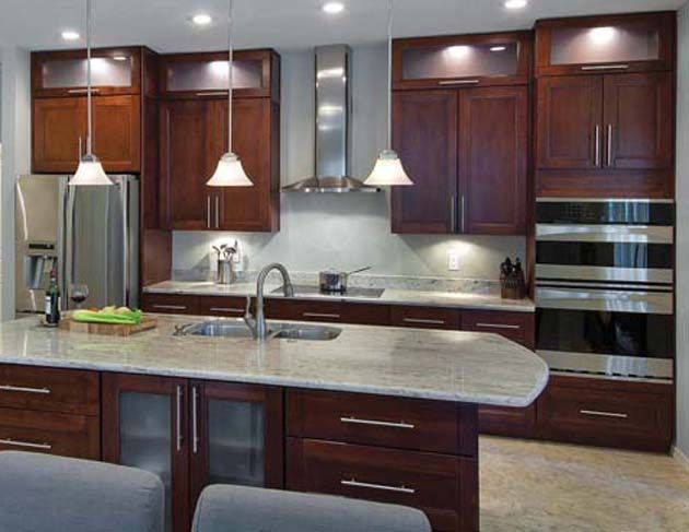 White Concrete Countertops With Stained Cabinets