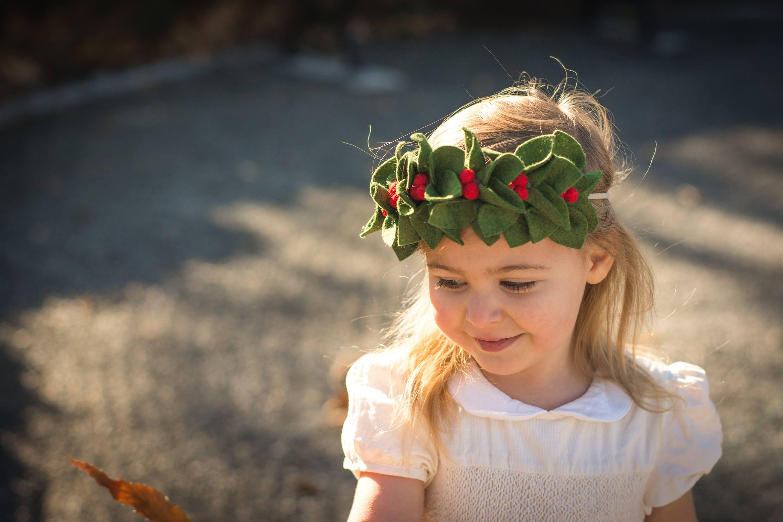Christmas flower crown holly crown christmas headband felt christmas flower crown holly crown christmas headband felt wreath headband felt leaf izmirmasajfo