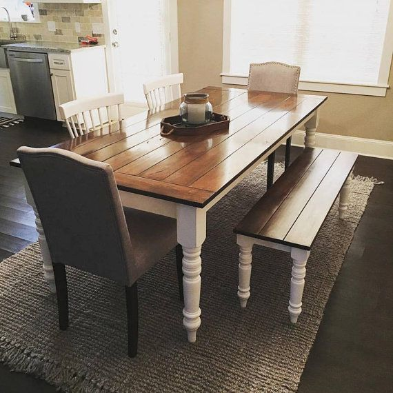 Custom Farmhouse Table/7ft/Turned Legs/Solid By EHopeFurniture
