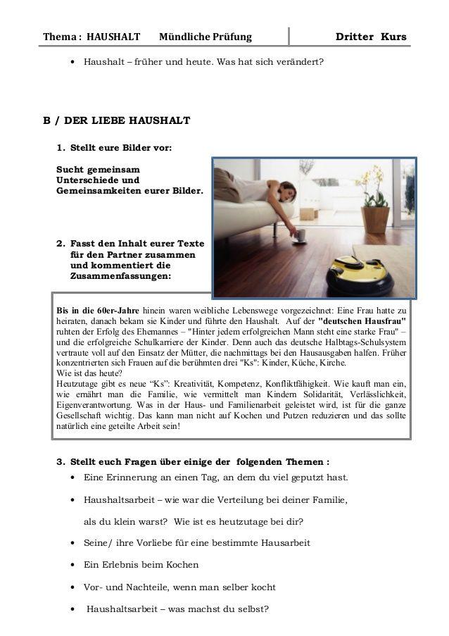 B1 Training Mundliche Prufung Der Liebe Haushalt Mundliche Prufung Deutsch Lernen Prufung