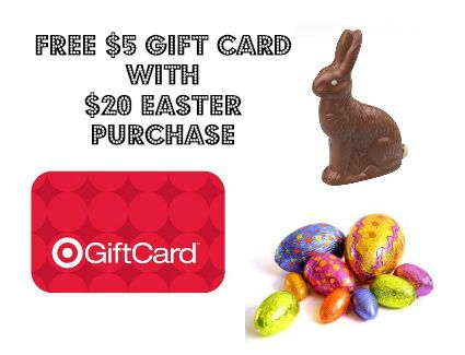 Grab this new Target mobile coupon to get a FREE $5 Target Gift card with your $20 or more Easter Basket and/or Candy Purchase!