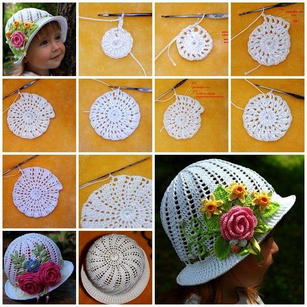 Sombreros encantadores para niñas tejidos al crochet, con paso a ...