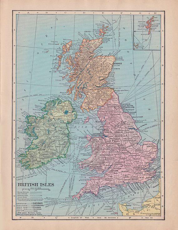 fabric yardage vintage map of the united kingdom england ireland scotland