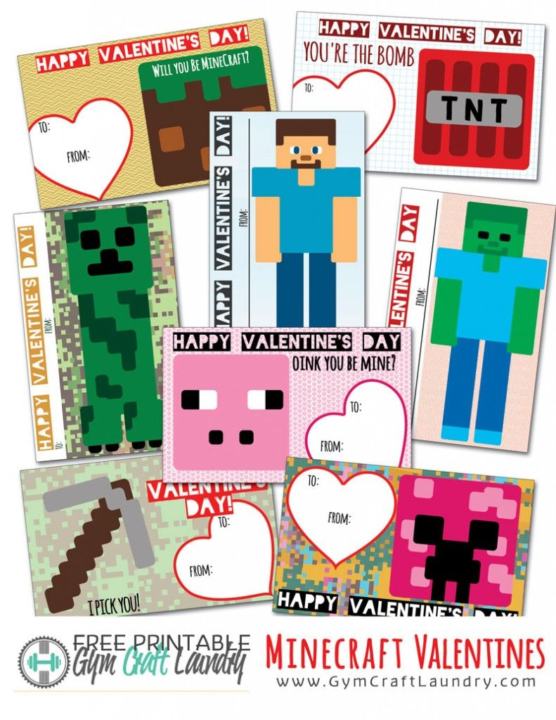 Printable Minecraft Valentines Cards For The Class Best Of Gym