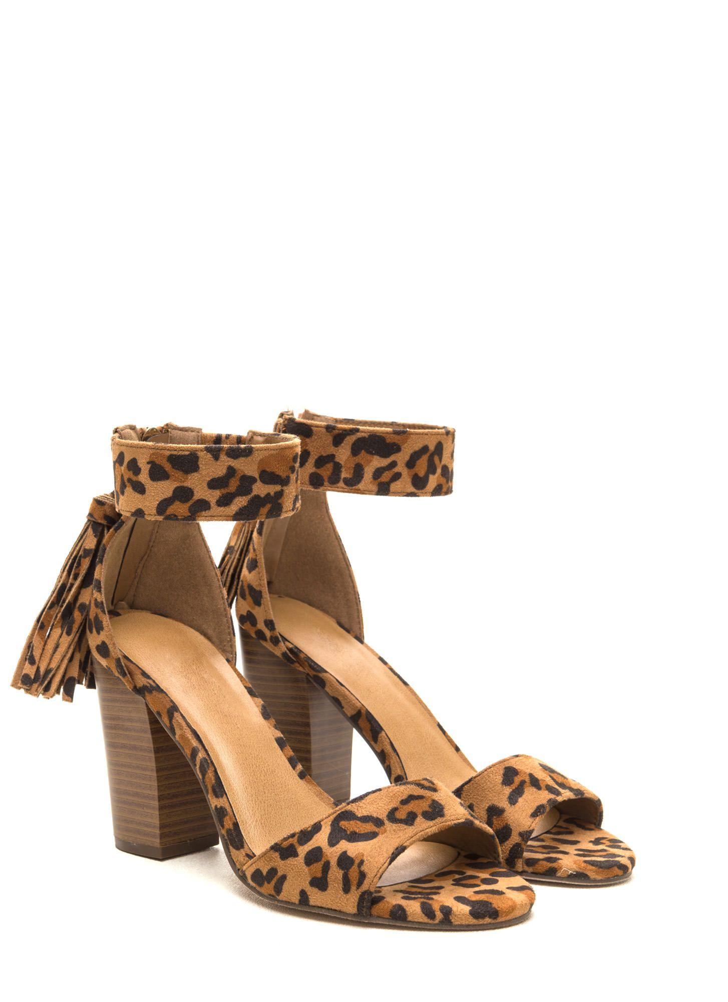 Two To Tassel Leopard Print Heels LEOPARD - GoJane.com   Shoes ...