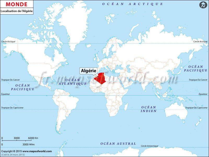 Bien connu Où est l'Algérie | Pays: Carte de localisation | Pinterest  KH39