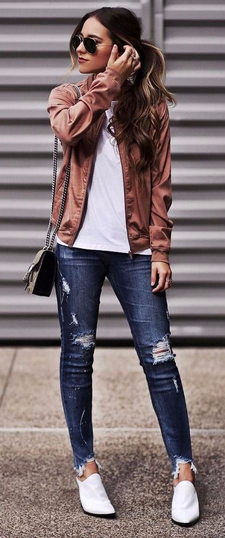 jeans + jacket office outfit