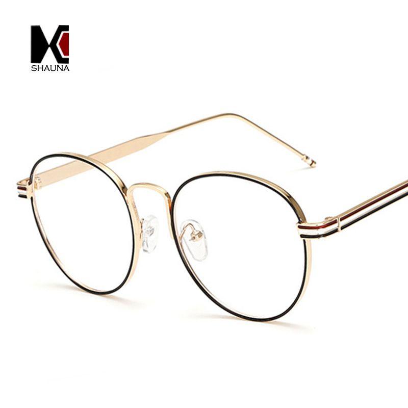 ea80e4060ff2 SHAUNA Fashion Women Round Glasses Frame Brand Designer Vintage Men Metal  Frame Clear Lens Eyewear