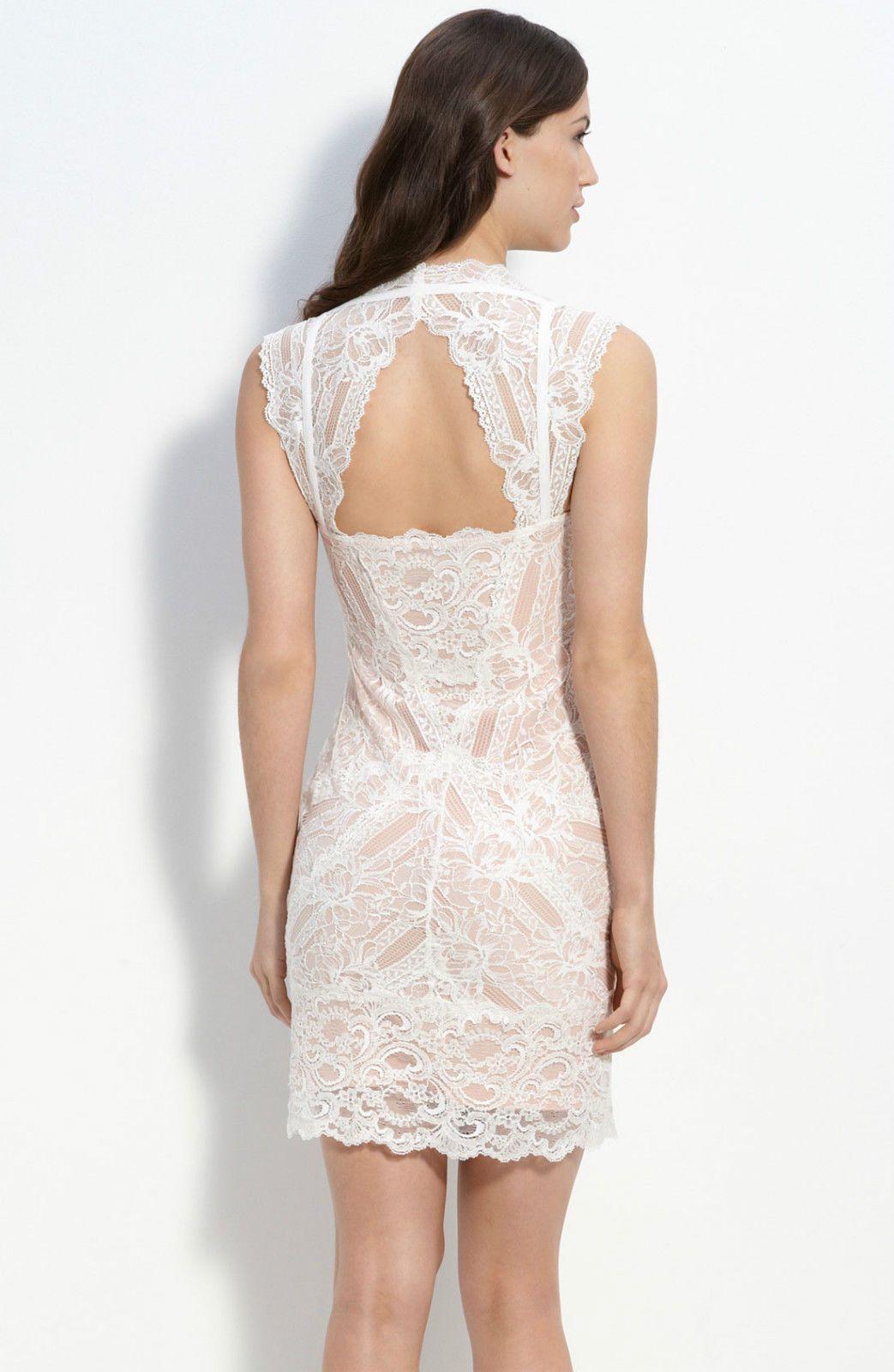 NICOLE MILLER ~ Ivory Lace Cutout Back Sheath Cocktail Dress P NEW $430