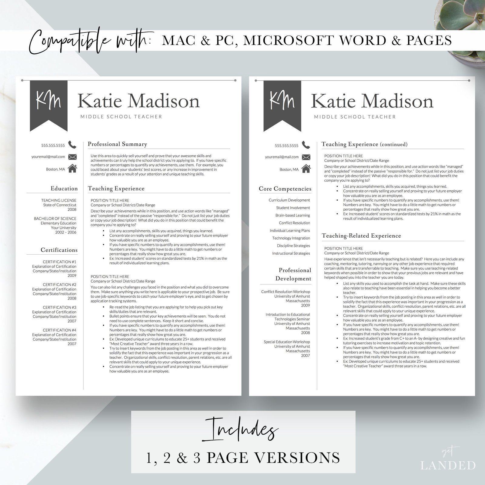 Teacher Resume, Elementary Resume Template for Word