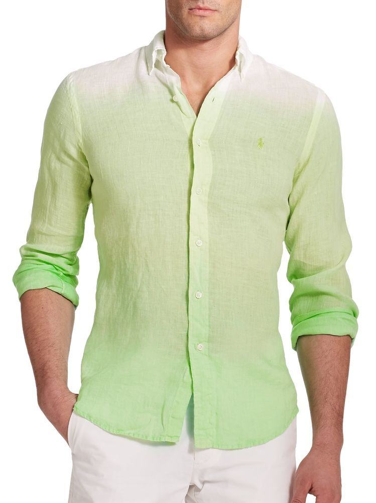 New polo ralph lauren bigtall mens lime ombre sport linen for Xlt long sleeve polo shirts